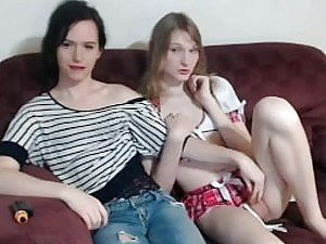Two college femboys posing on camera - amateur tranny tube