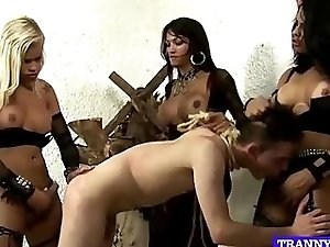 One guy fucked by 3 tranny dommes